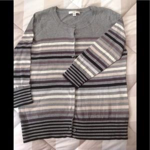 Sweaters - Multi Stripe 3/4 Sleeve Cardigan